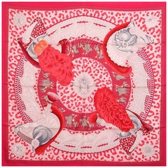 Hermes pink CASQUES ET PLUMETS 90 silk twill Scarf