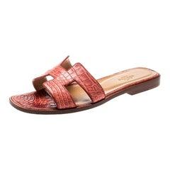 Hermes Pink Croc Leather Oran Flat Sandals Size 37