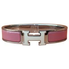 Hermès Pink Enamel Clic Clac Bracelet White Enamelled H Buckle Phw GM