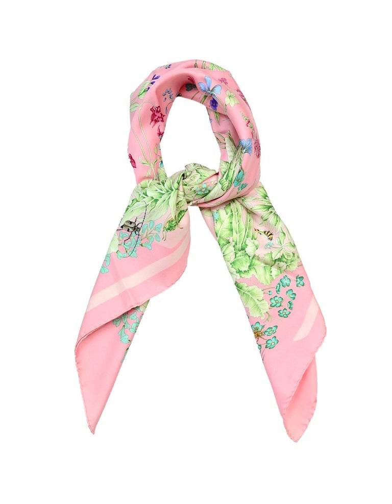 Hermes Pink Floral/Insect La Prairie 90cm Silk Scarf  Made In: France Color: Pink, green, patterned Materials: Silk Overall Condition: Excellent pre-owned condition with exception of no tag Estimated Retail: $385 + tax  Measurements:  34.5