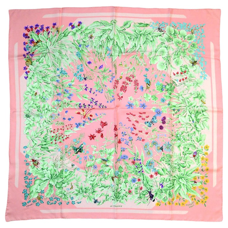 Hermes Pink Floral/Insect La Prairie 90cm Silk Scarf For Sale