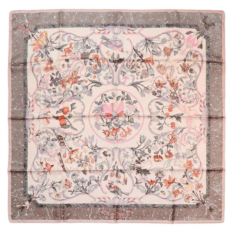 "Hermes Pink Grey ""Pierres d'Orient et d'Occident"" 90cm Silk Scarf by Zoe Pawuels For Sale"