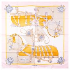 HERMES pink HARNAIS DE COUR 90 silk twill Scarf