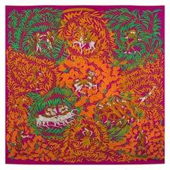 Hermes pink LA PROMENADE DE PLATON 90 silk twill Scarf