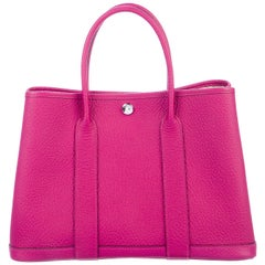 Hermes NEW Pink Leather Large Carryall Travel Garden Top Handle Satchel Tote Bag