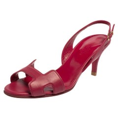 Hermes Pink Leather Night Slingback Sandals Size 36