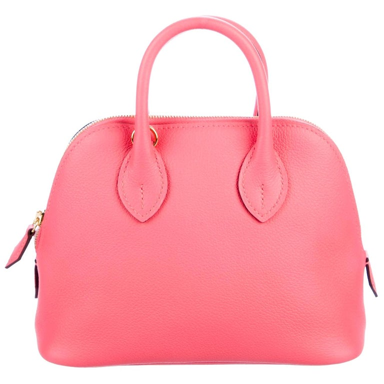 Hermes Pink Leather Small Top Handle Satchel Tote Shoulder Bag in Box