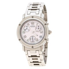 Hermes Pink Mother of Pearl Stainless Steel Clipper Chronograph CL1.310 Women's