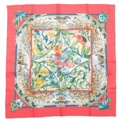 Hermes Pink & Multicolor Tropiques Silk Scarf