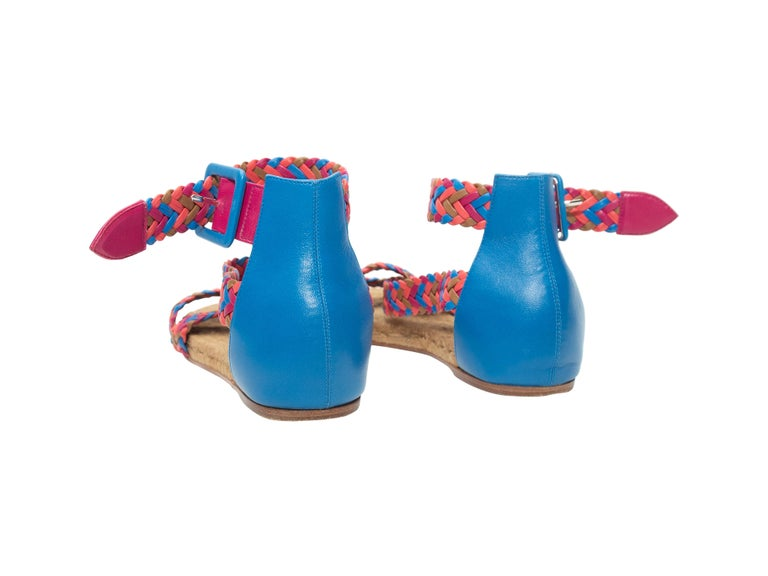 Hermes Pink & Multicolor Woven Leather Espadrille Sandals For Sale 1