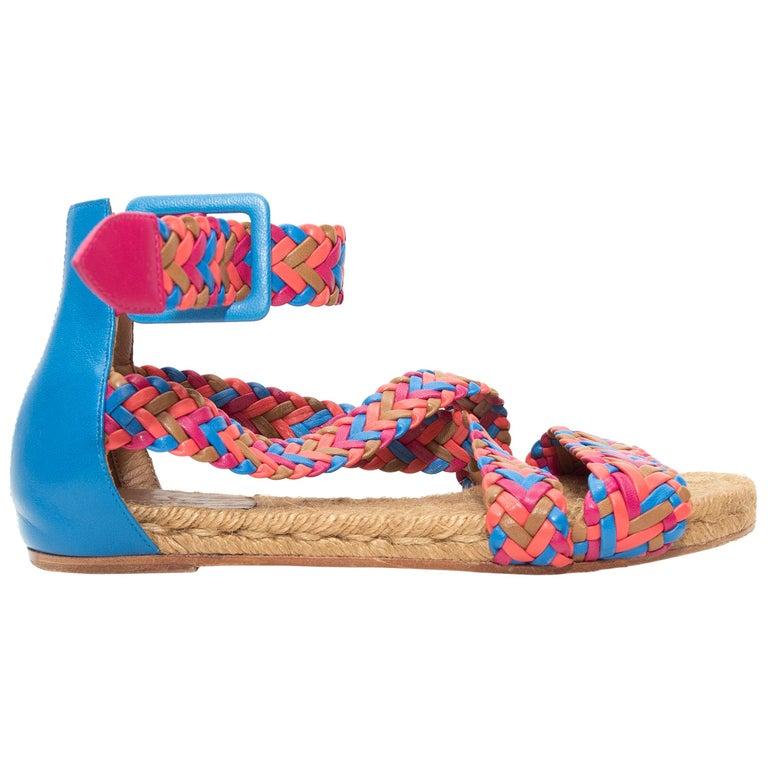 Hermes Pink & Multicolor Woven Leather Espadrille Sandals For Sale