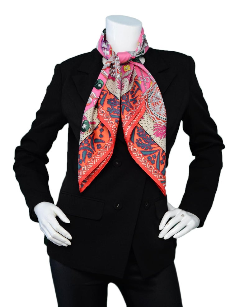 Hermes Pink/Multicolor Zenobie Reine de Palmyre Silk Scarf  Made In: France Color: Pink, multicolor  Materials: 100% silk Overall Condition: Excellent pre-owned condition Estimated Retail: $415 + tax Measurements:  34