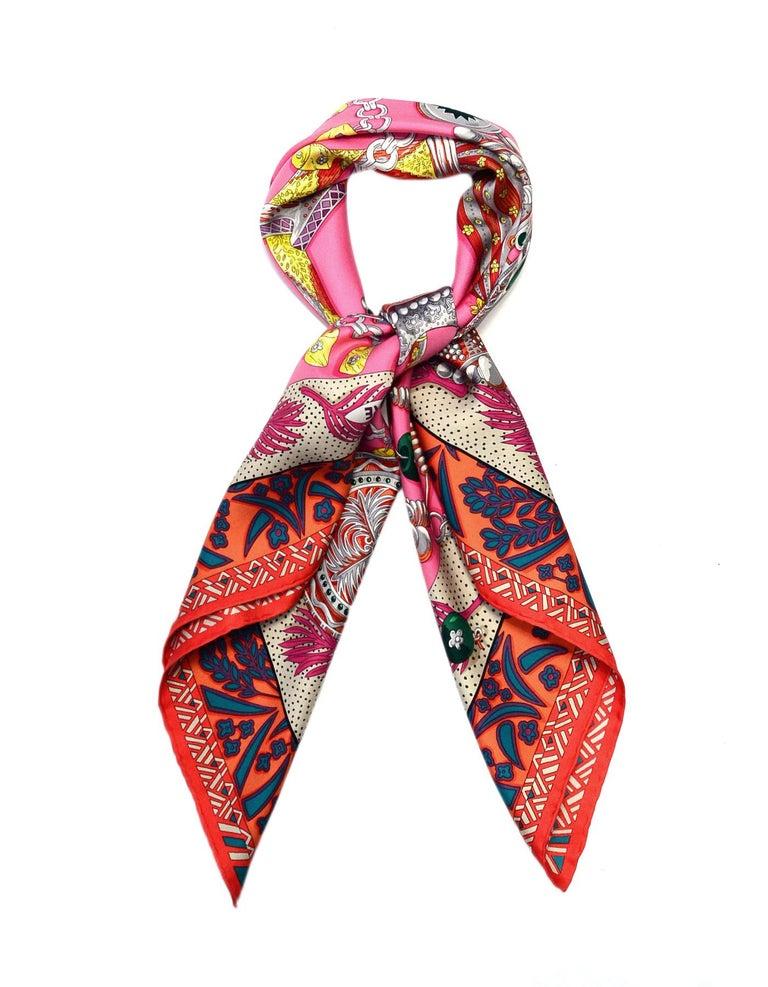 Hermes Pink/Multicolor Zenobie Reine de Palmyre Silk Scarf In Excellent Condition In New York, NY