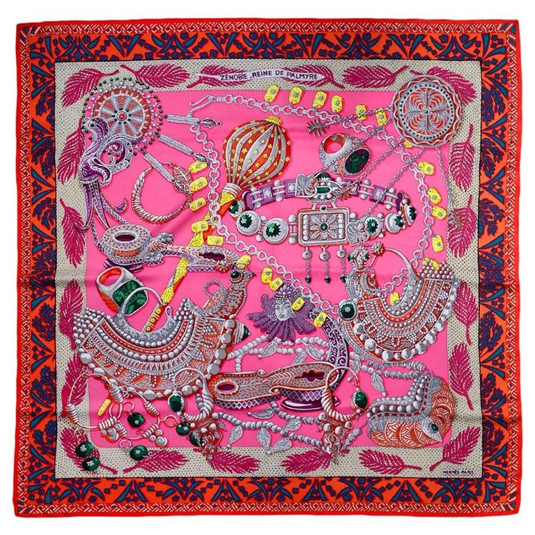 Hermes Pink/Multicolor Zenobie Reine de Palmyre Silk Scarf