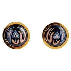 Hermès Pink on Black Enamel Floral Clip On Earrings
