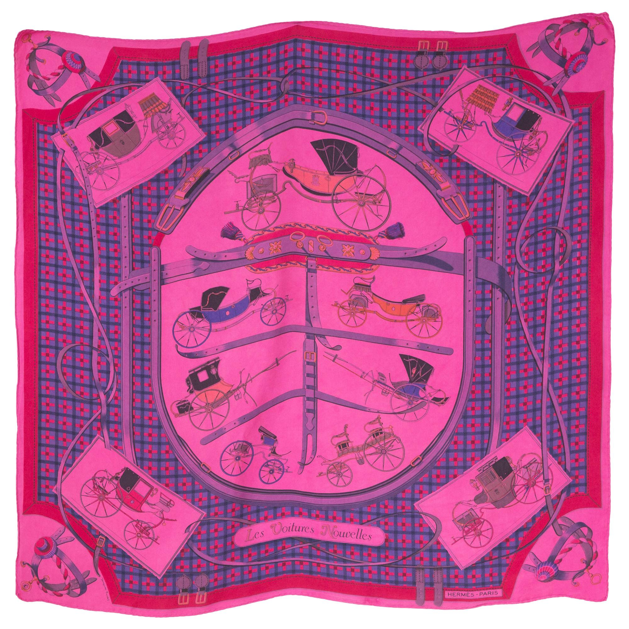 Hermes Pink Overdyed Les Voitures Nouvelles by Jacques Eudel Silk Scarf