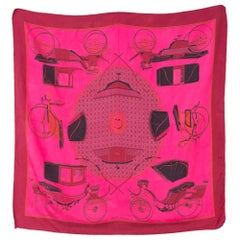Hermes Pink Overdyed Voitures à transformations by F. de la Perriere Silk Scarf