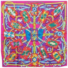 Hermes pink purple DAME DE COEUR 90 silk Scarf