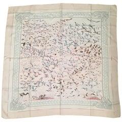 Hermes Pink Scarf 'Libres Comme L'Air' by Annie Faivre 90cm
