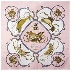 Hermes pink SPRINGS 90 silk twill Scarf