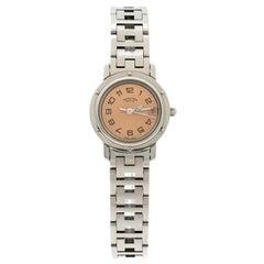 Hermes Pink Stainless Steel Clipper CL4.210 Women's Wristwatch 24MM