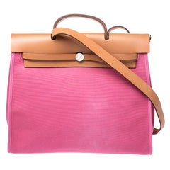 Hermes Pink/Tan Canvas and Leather 2in1 Herbag Zip 39 Bag