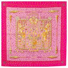 Hermes pink TRESORS RETROUVES 90 silk Scarf Rose Indien Vieux Rose Violet