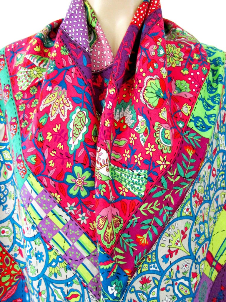 Pink Hermes Pique Fleuri de Provence Cashmere Silk Shawl Scarf GM Rare NEW For Sale