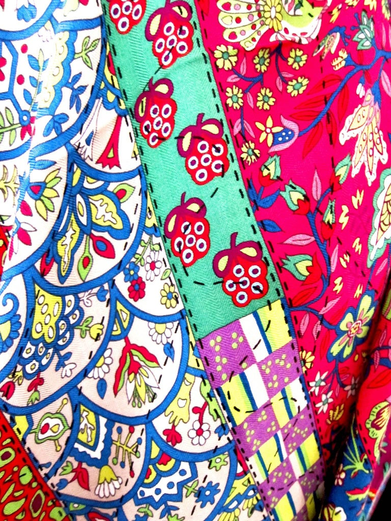Women's Hermes Pique Fleuri de Provence Cashmere Silk Shawl Scarf GM Rare NEW For Sale