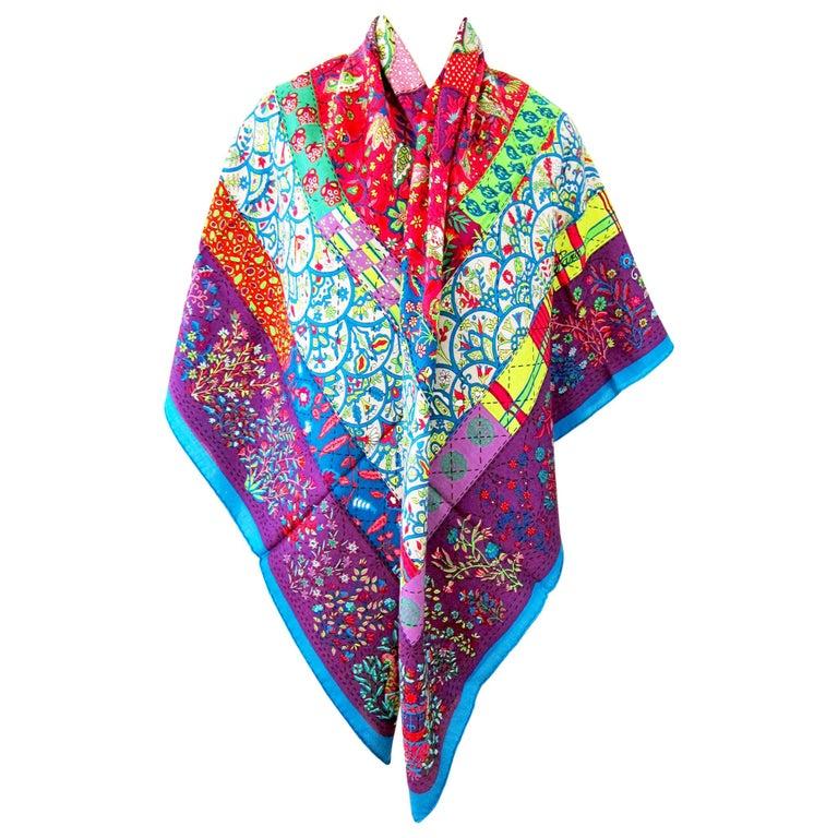 Hermes Pique Fleuri de Provence Cashmere Silk Shawl Scarf GM Rare NEW For Sale