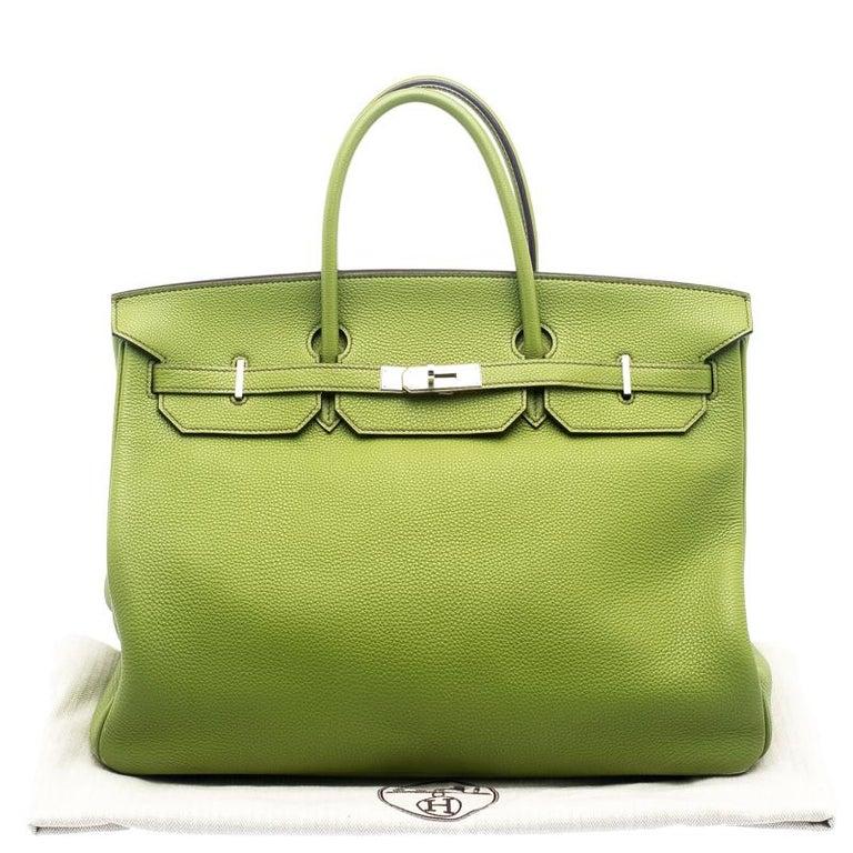 1a1c0575caed Hermes Pistacio Green Togo Leather Palladium Hardware Birkin 40 Bag For Sale  6