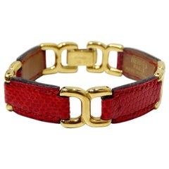 Hermés Place Beauvau Red Lizard Bracelet