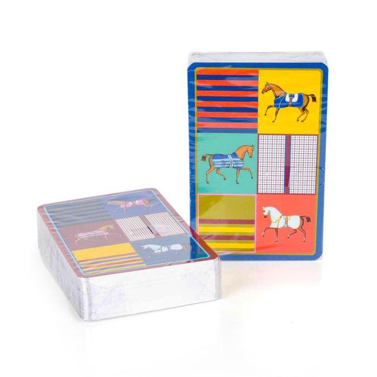 Beige Hermes Playing Cards Couvertures Nouvelles Bridge Set For Sale