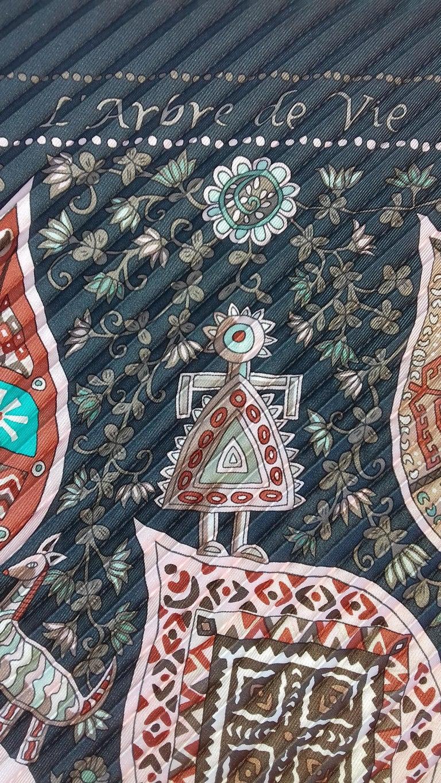 Hermès Pleated Silk Scarf Carré LArbre de Vie Christine Henry 2011 For Sale 6