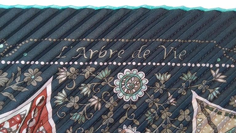 Hermès Pleated Silk Scarf Carré LArbre de Vie Christine Henry 2011 For Sale 8