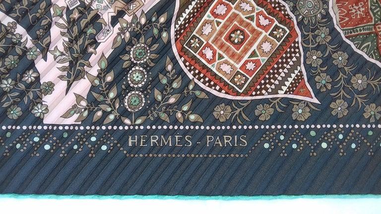 Hermès Pleated Silk Scarf Carré LArbre de Vie Christine Henry 2011 For Sale 9