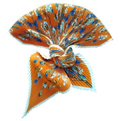 Hermès Pleated Silk Scarf Vol Amoureux des Azures Toutsy Butterflies 90 cm