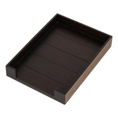 Hermes Pleiade Desk Tray Mahogany Wood / Etoupe Taurillon Leather New