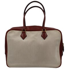 Hermes Plume 32 in Dark Red Leather and Canvas