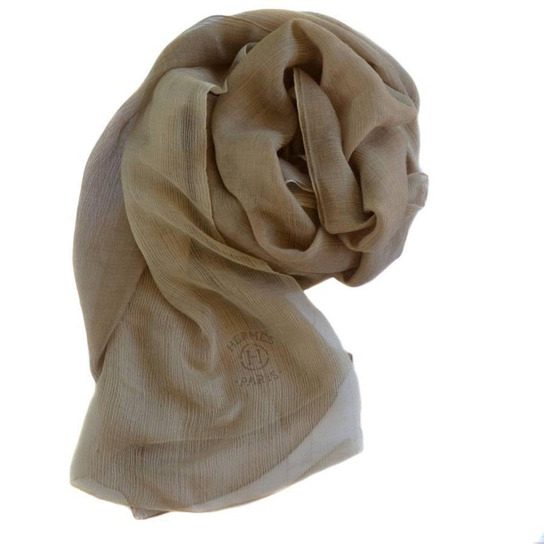 HERMES Plume Shawl in a Beige Gradient Cashmere and Silk