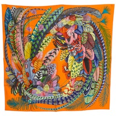 Hermes Plumes en Fete Silk Scarf 90cm New Aline Honoré Orange