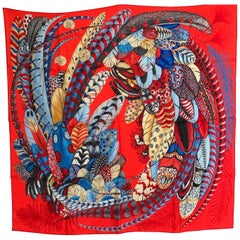 Hermes Plumes en Fete Silk Scarf 90cm New Aline Honoré Red Rouge