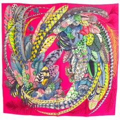 Hermes Plumes en Fete Silk Scarf 90cm New Aline Honoré Rose Vif Pink