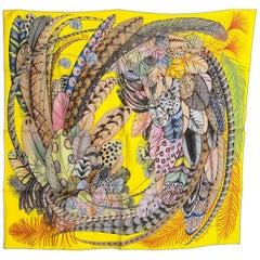 Hermes Plumes en Fete Silk Scarf 90cm New Aline Honoré Yellow RARE C