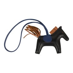 Hermes PM Rodeo Bag Charm Black/ Blue Sapphire / Gold