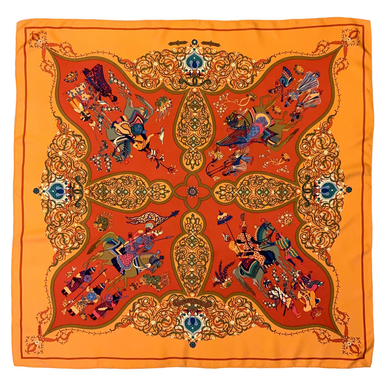 Hermès Poésie Persane Orange Silk Scarf