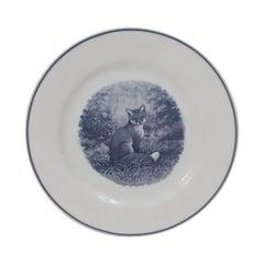 "Hermès Porcelain ""Animalia"" Fox Renard Dessert Plate, France, Modern"
