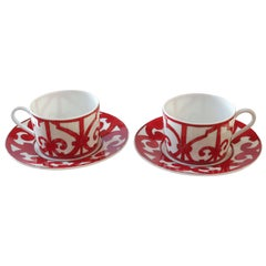 "Hermès Porcelain ""Balcon du Guadalquivir"" Set of Two Tea Cups and Saucer, France"