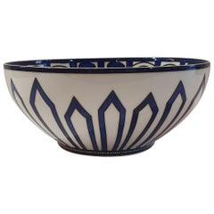 """Hermès Porcelain """"Bleus d'Ailleurs"""" Large Salad Bowl, France, Modern"""