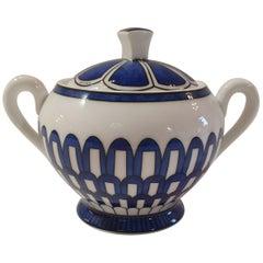 """Hermès Porcelain """"Bleus d'Ailleurs """" Sugar Bowl, France, Modern"""